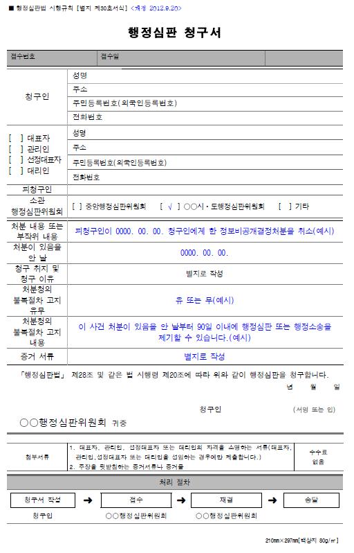 정보비공개 관련 행정심판청구서 작성례